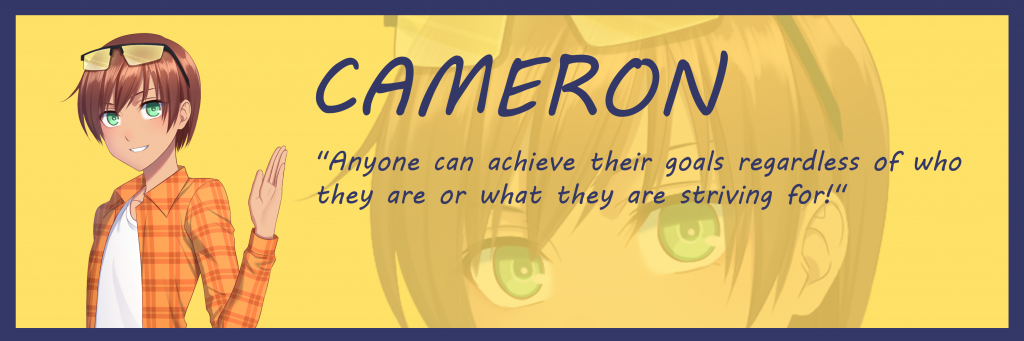 "Aquadine character Cameron says ""Anyone can achieve their goals regardless of who they are or what they are striving for!"""